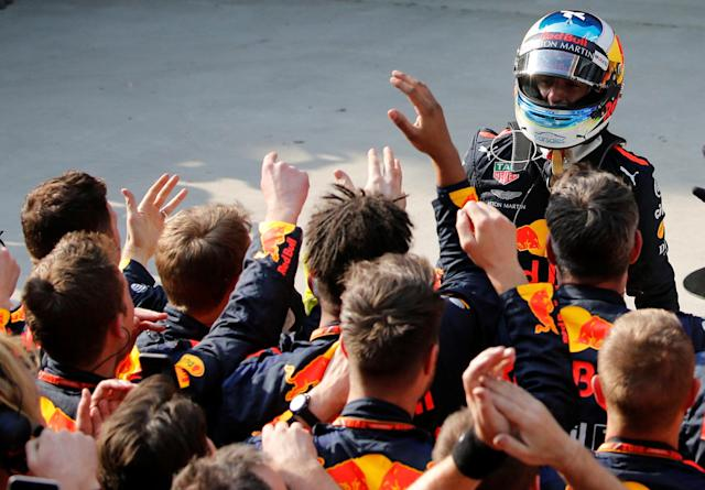 Formula One F1 - Chinese Grand Prix - Shanghai International Circuit, Shanghai, China - April 15, 2018 Red Bull's Daniel Ricciardo celebrates after winning the race REUTERS/Aly Song