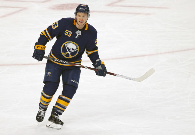 FILE - In this Jan. 8, 2019, file photo, Buffalo Sabres forward Jeff Skinner (53) skates during the third period of an NHL hockey game against the New Jersey Devils, in Buffalo N.Y. Skinner is one of several players who could've probably cashed out even richer contracts by going to free agency and opted instead to re-sign with their current teams. (AP Photo/Jeffrey T. Barnes, File)