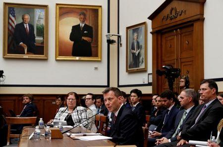 "FBI Deputy Assistant Director Peter Strzok testifies before the House Committees on Judiciary and Oversight and Government Reform joint hearing on ""Oversight of FBI and DOJ Actions Surrounding the 2016 Election"" in the Rayburn House Office Building in Washington, U.S., July 12, 2018. REUTERS/Leah Millis"