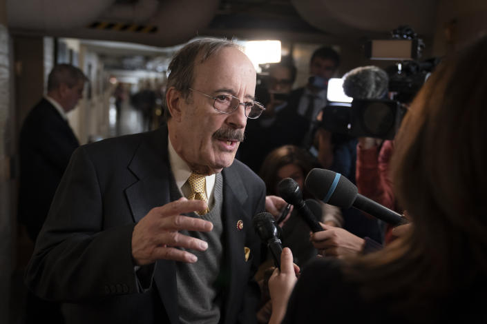 In this Dec. 17, 2019, file photo House Foreign Affairs Committee Chairman Eliot Engel, D-N.Y., talks to reporters as before he meets with fellow House Democrats at the Capitol in Washington. (J. Scott Applewhite/AP Photo)