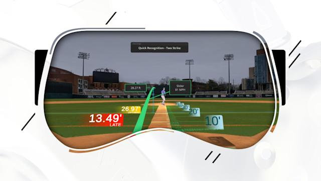 Virtual reality batting practice head-set is Dodgers' real-life preparation tool