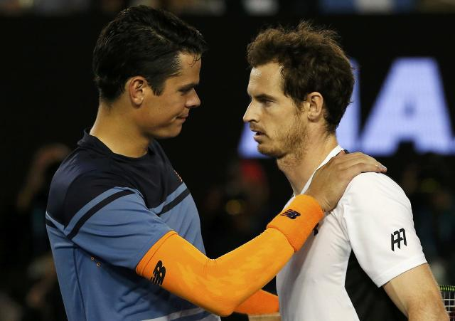 Raonic looks like he's the one consoling Murray - instead of the other way around – after the Canadian's adductor injury scuttled his opportunity to get to his first Grand Slam final. (REUTERS/Tyrone Siu)