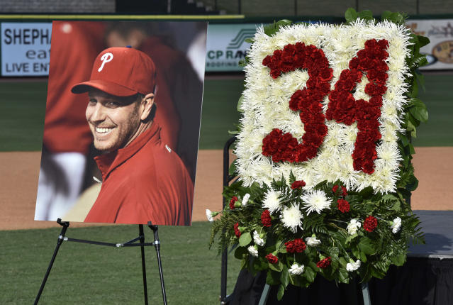 Roy Halladay continues to have his memory honored months after his death. (AP Photo)