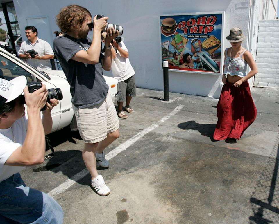 Britney Spears is the focus of paparazzi lenses on Aug. 23, 2004 in Los Angeles.