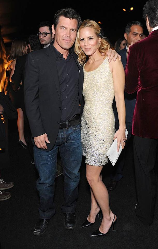 """Josh Brolin and Maria Bello caught up at the private soiree, which was held at supermarket magnate Ron Burkle's magnificent estate. Stefanie Keenan/<a href=""""http://www.gettyimages.com/"""" target=""""new"""">GettyImages.com</a> - January 13, 2011"""