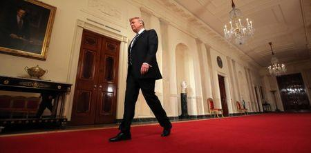 U.S. President Donald Trump arrives to announce his nomination of Neil Gorsuch for the empty associate justice seat of the U.S. Supreme Court at the White House in Washington, D.C., U.S., January 31, 2017. REUTERS/Carlos Barria