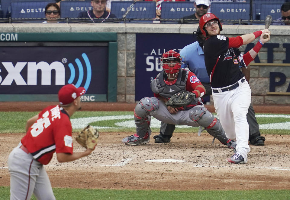 The future stars of tomorrow popped eight home runs in the 2018 Futures Game. (AP Photo/Carolyn Kaster)