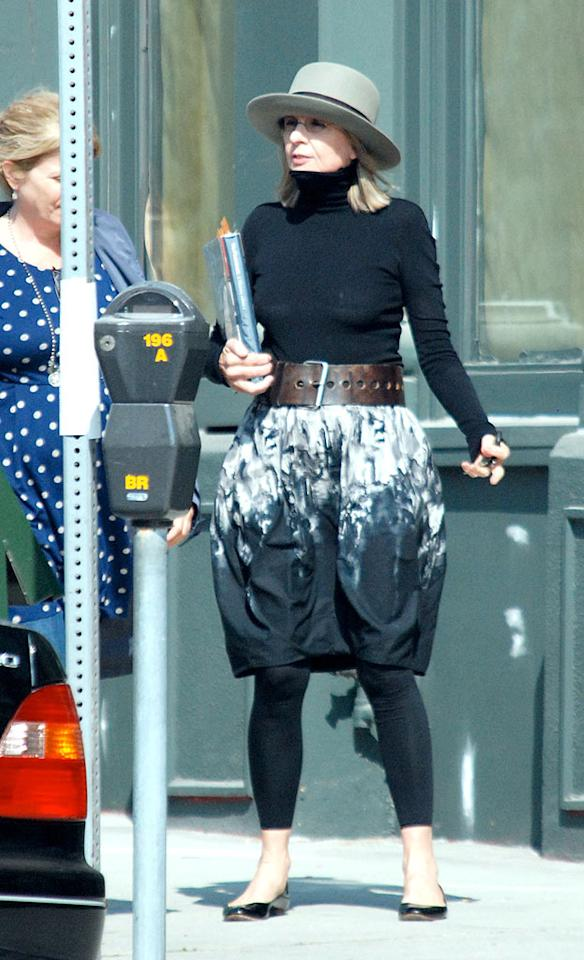 "Someone call the fashion police! Diane Keaton deserves to be arrested for indecent exposure! Green/<a href=""http://www.x17online.com"" target=""new"">X17 Online</a> - October 21, 2008"
