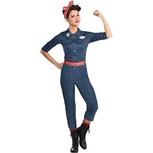 """<p><strong>See All Historical Costumes</strong></p><p>partycity.com</p><p><strong>$39.99</strong></p><p><a href=""""https://www.partycity.com/adult-rosie-the-riveter-denim-jumpsuit-costume-P889690.html"""" rel=""""nofollow noopener"""" target=""""_blank"""" data-ylk=""""slk:Shop Now"""" class=""""link rapid-noclick-resp"""">Shop Now</a></p><p>Go way back to 1943, when Rosie the Riveter became a World War II icon.</p><p><a class=""""link rapid-noclick-resp"""" href=""""https://go.redirectingat.com?id=74968X1596630&url=https%3A%2F%2Fwww.etsy.com%2Flisting%2F167775140%2Frosie-the-riveter-headband-top-knot&sref=https%3A%2F%2Fwww.goodhousekeeping.com%2Fholidays%2Fhalloween-ideas%2Fg28102891%2Fbadass-halloween-costumes-women%2F"""" rel=""""nofollow noopener"""" target=""""_blank"""" data-ylk=""""slk:SHOP RED HEADBANDS"""">SHOP RED HEADBANDS</a></p>"""