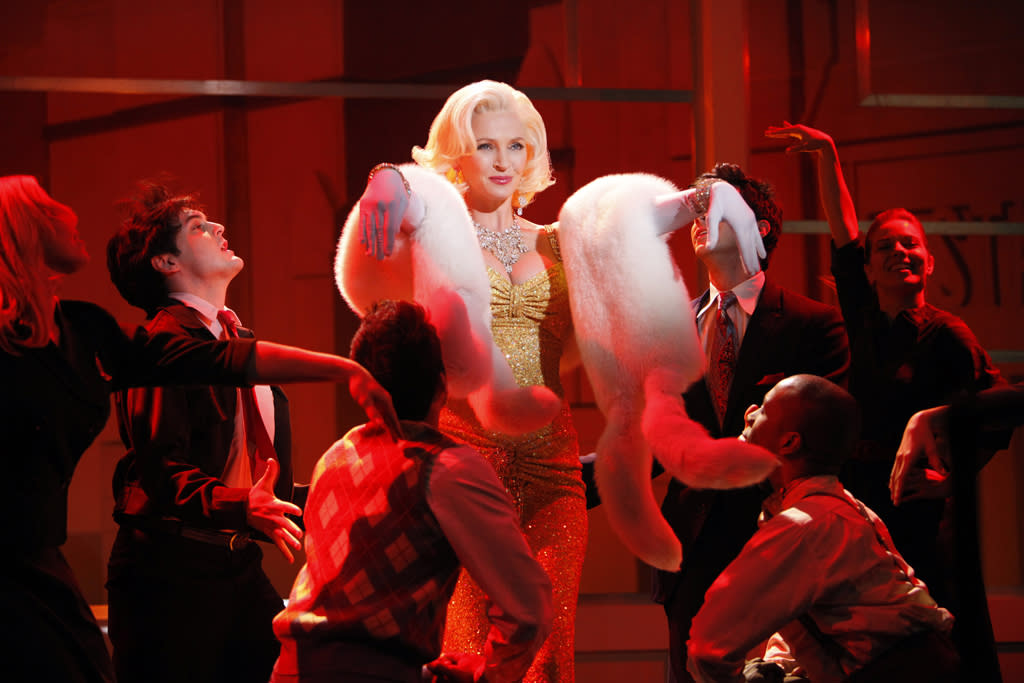 "Oscar-nominated actress Uma Thurman is the latest star to sport Marilyn Monroe's platinum mane and perfect red pout. In this exclusive photo, the actress vamps it up as the late great bombshell in a musical number on NBC's ""<a href=""http://tv.yahoo.com/smash/show/47403/"">Smash</a>."" In the series, Thurman (who was pregnant during production) plays Hollywood starlet Rebeca Duvall who snatches the role of the blonde icon away from Ivy (Megan Hilty) and Karen (Katharine McPhee). Check out <a href=""http://yhoo.it/Im289i%20"">more exclusive photos</a> of Thurman as Rebecca singing ""Happy Birthday, Mr. President.""<br><br><b>Plus, see more actresses who've portrayed Marilyn by clicking through this slideshow!</b>"