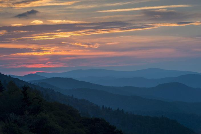 <p>The sun sets for a beautiful sky over the Great Smoky Mountains National Park, North Carolina. // September 20, 2015</p>