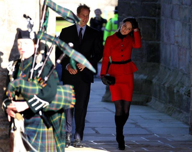 Prince William and Kate Middleton leave the Quadrangle during a return visit to the University of St Andrews, where they first met (Andrew Milligan/PA)