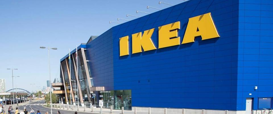 Ikea store, large blue building with yellow letters