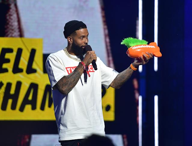 "Odell Beckham Jr. received the ""King of Swag"" award at the Nickelodeon Kids' Choice Sports event this month. (Getty Images)"