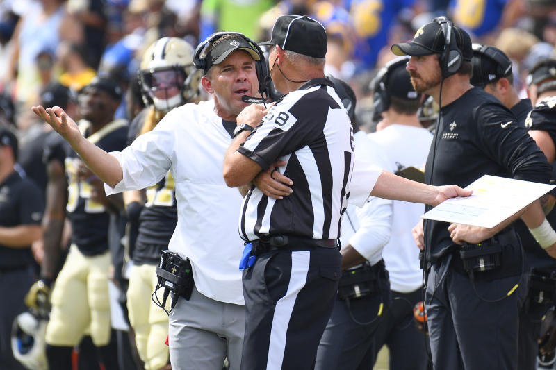 LOS ANGELES, CA - SEPTEMBER 15: Saints head coach Sean Payton argues with an referee during an NFL game between the New Orleans Saints and the Los Angeles Rams on September 15, 2019, at the Los Angeles Memorial Coliseum in Los Angeles, CA. (Photo by Brian Rothmuller/Icon Sportswire via Getty Images)