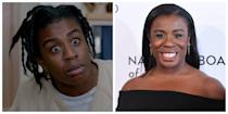 "<p>In <em>Orange Is The New Black</em>, Uzo Aduba plays Suzanne Warren, better known as ""Crazy Eyes"" to many of the women in the prison. In the show, Crazy Eyes is always in a neutral prison jumpsuit and is known for her super wide-eyed look. Aduba is the total opposite on the red carpet—sleek, stylish and composed.</p>"