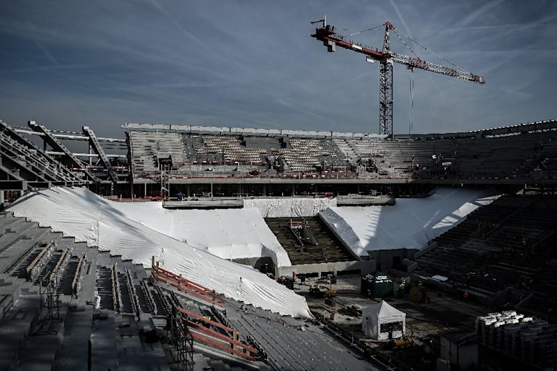 Construction work at Court Philippe Chatrier in February this year (AFP Photo/Philippe LOPEZ)