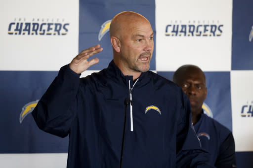 FILE - In this Wednesday, Feb. 22, 2017, file photo, Los Angeles Chargers defensive coordinator Gus Bradley speaks during a news conference, in Carson, Calif. The Chargers held Tom Brady and New England to just one touchdown in four red zone trips in last year's game. After flummoxing Baltimore last week, Gus Bradley is hoping to come up with another successful game plan this week. (AP Photo/Jae C. Hong, File)