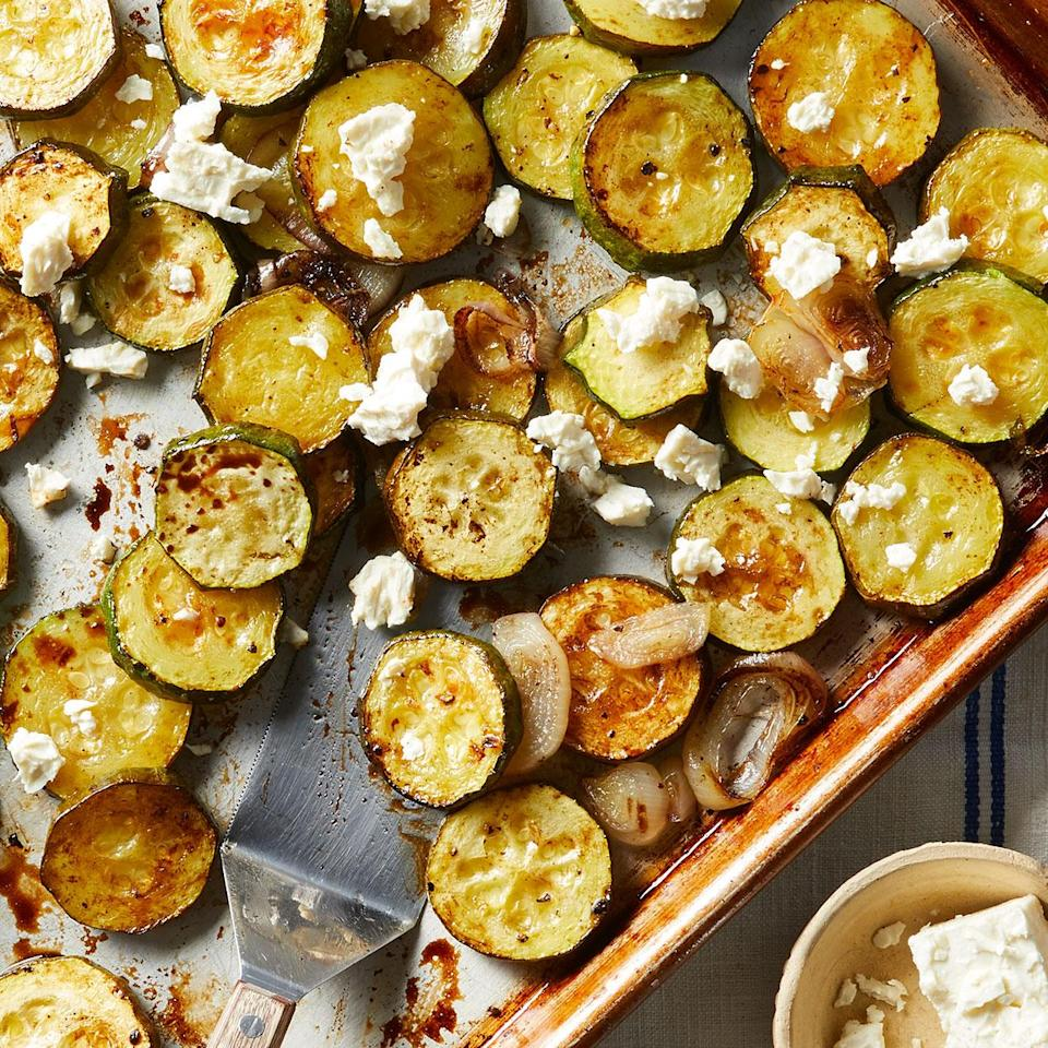 <p>We've got a great way to use up your garden zucchini! Zucchini softens while roasting and soaks up the flavor of balsamic vinegar. The sweet flavors are complemented by salty feta cheese sprinkled on just before serving. It's an easy summer side you'll come back to again and again.</p>