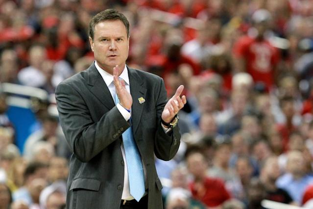 Head coach Bill Self of the Kansas Jayhawks claps as the Jayhawks were on their way to defeating the Ohio State Buckeyes in the National Semifinal game of the 2012 NCAA Division I Men's Basketball Championship at the Mercedes-Benz Superdome on March 31, 2012 in New Orleans, Louisiana. (Photo by Jeff Gross/Getty Images)