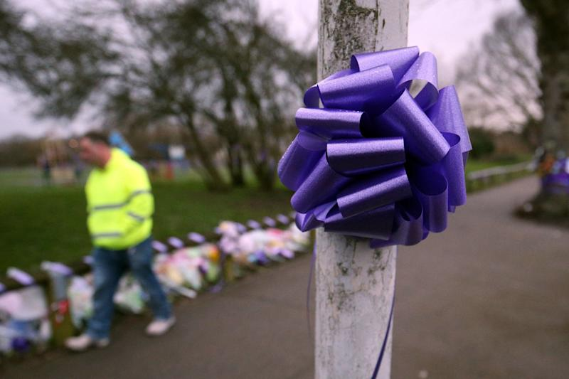 Purple bows and ribbons, which represent the colour of Jodie Chesney's girl scout's troop, have been used to pay tribute to the stabbed teen (PA)