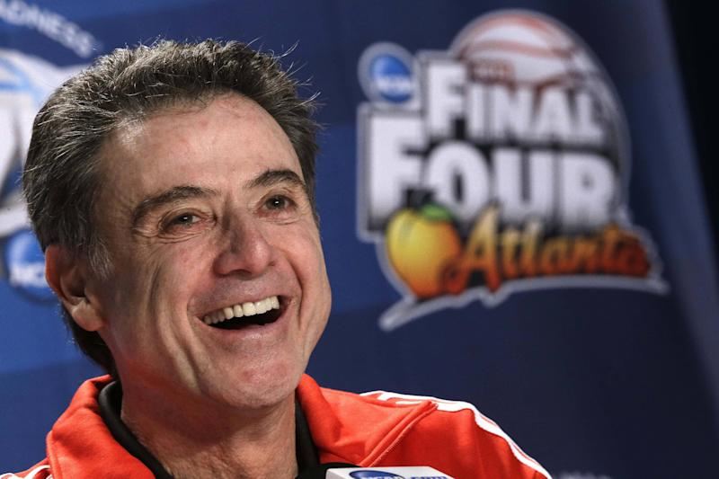Louisville head coach Rick Pitino speaks to the media during a news conference at the Final Four of the NCAA college basketball tournament, Thursday, April 4, 2013, in Atlanta. Louisville is scheduled to play Wichita State in a national semifinal on Saturday. (AP Photo/John Bazemore)