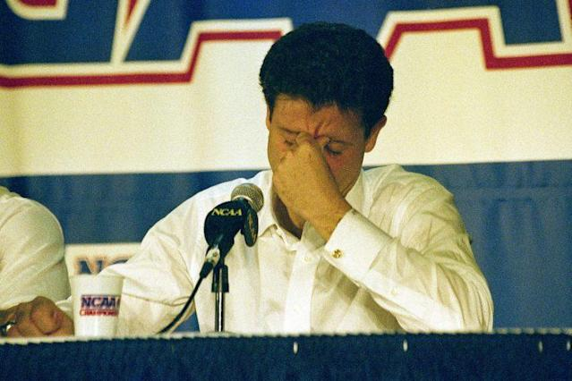 In this March 28, 1992, file photo, Kentucky head coach Rick Pitino reacts during the end of the East Regional Final NCAA college basketball game news conference following their 104-103 overtime loss to Duke in Philadelphia. (AP)