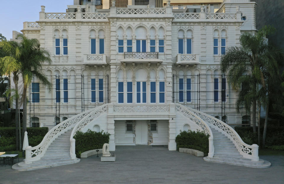 The facade of the Sursock Museum was reconstructed after it was decimated in a massive explosion last August in the port of Beirut, Lebanon, Thursday, July 8, 2021. The 60-year-old Sursock Museum is still rebuilding a year after the explosion. It was the beating heart of Beirut's arts community, and some hope that reopening it will be a first step in the harder task of rebuilding the city's once thriving arts scene. (AP Photo/Hussein Malla)