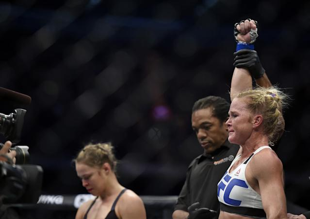 <p>Rousey was at the peak of her power and well established as the most dominant women's fighter in UFC history. Holm hadn't been involved in any major MMA fights to that point and was seen as untested in the UFC world. That perception changed when she knocked out previously undefeated Rousey in the second round after landing a devastating head kick. A little more than a year later, Rousey lost again and subsequently announced her retirement from the UFC. </p>