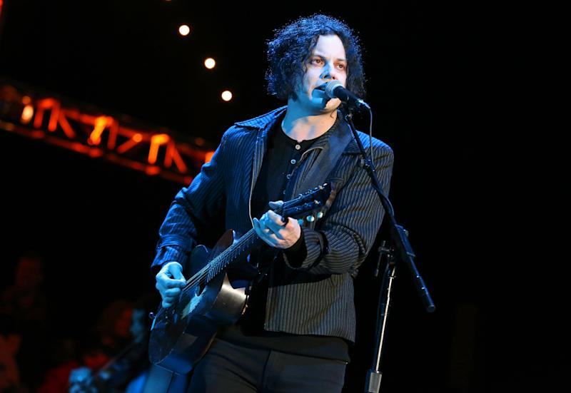 """FILE - This Oct. 20, 2012 file photo shows Jack White performing at the Bridge School Benefit Concert in Mountain View, Calif. White is going direct to vinyl with the first live performance of a song off his upcoming album on Record Store Day. Fans will get to see him perform the title track from """"Lazaretto"""" on Saturday morning, which will be recorded and pressed into a limited edition vinyl record that afternoon. (Photo by Barry Brecheisen/Invision/AP, FIle)"""