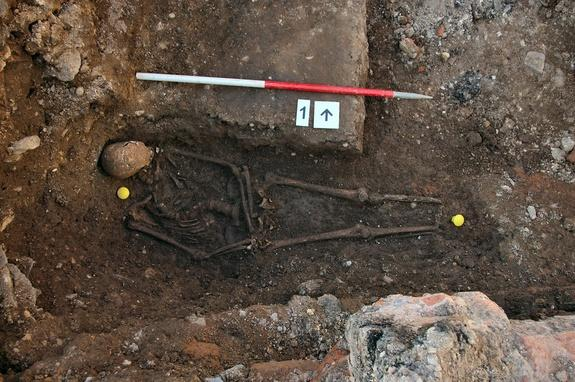The remains of King Richard III, who died in 1485, discovered under a parking lot in Leicester, England.