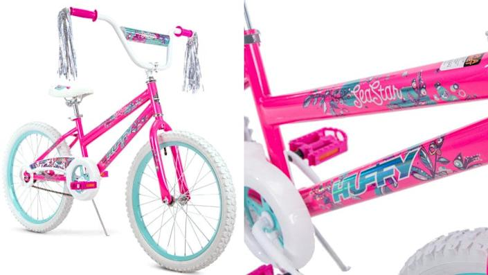 Young girls will love pedaling around on this sweet bike.