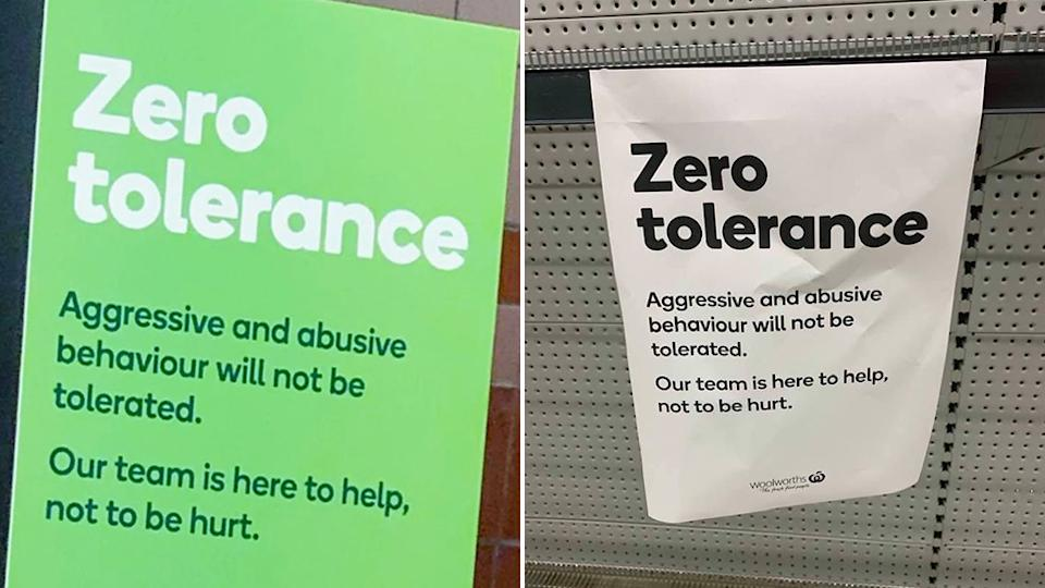 Picture of various 'zero tolerance' signs seen in Woolworth stores