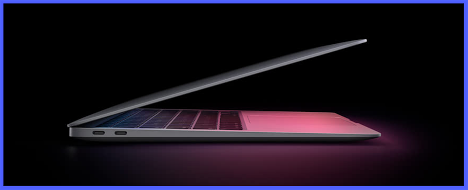 Look how sleek and slim the Air is!....though we suggest opening it a bit further for maximum enjoyment. (Photo: Apple)