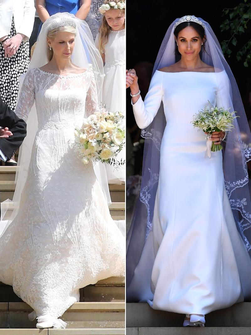 See Lady Gabriella's Wedding Dress Side-by-Side with Meghan Markle's Gown — One Year Later!
