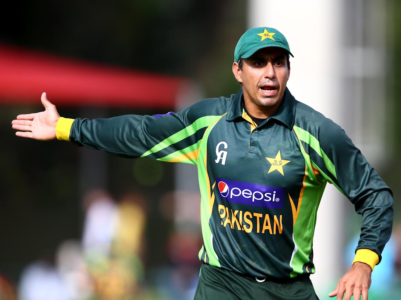 PORT ELIZABETH, SOUTH AFRICA - NOVEMBER 27: Nasir Jamshed of Pakistan gestures during the 2nd One Day International match between South Africa and Pakistan at AXXESS St Georges on November 27, 2013 in Port Elizabeth, South Africa. (Photo by Richard Huggard/Gallo Images)