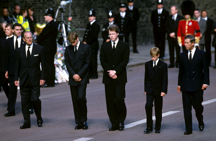 Prince Harry (fourth right) walked behind his mother's coffin (Picture: REX Features)