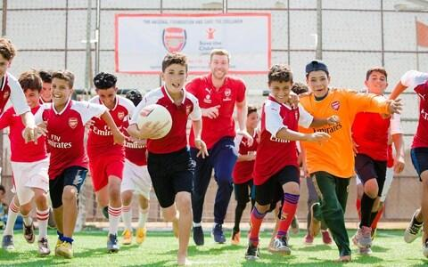Arsenal Academy Manager Per Mertesacker launches the new training programme at Zaatari camp - Credit: Charlie Forgham-Bailey/Save the Children