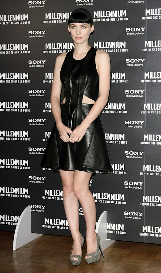"Rooney Mara added edge to the trend in this leather variation she wore to a photo call for ""The Girl With the Dragon Tattoo."""
