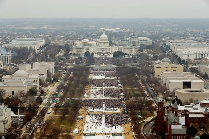 An aerial view of the crowd at President Trump's inauguration, Jan. 20, 2017. (Lucas Jackson/Reuters)