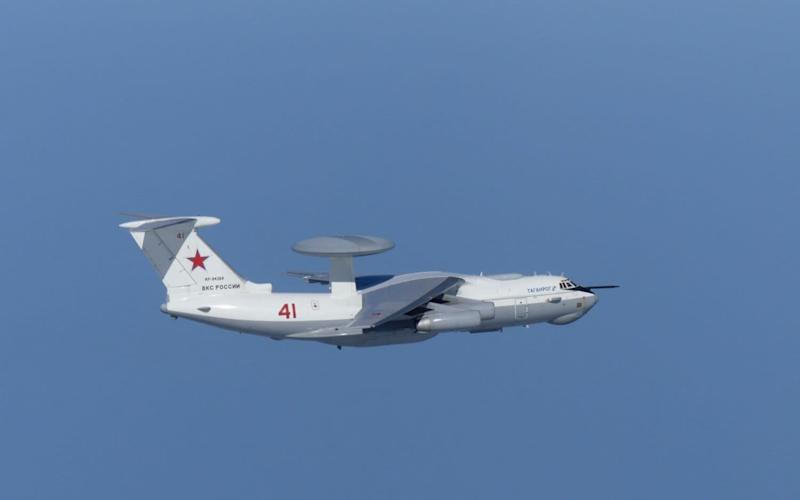 A Russian A-50 military aircraft flies near the disputed Dokdo islands on Tuesday in an incident that ended in South Korean jets firing warning shots - REUTERS