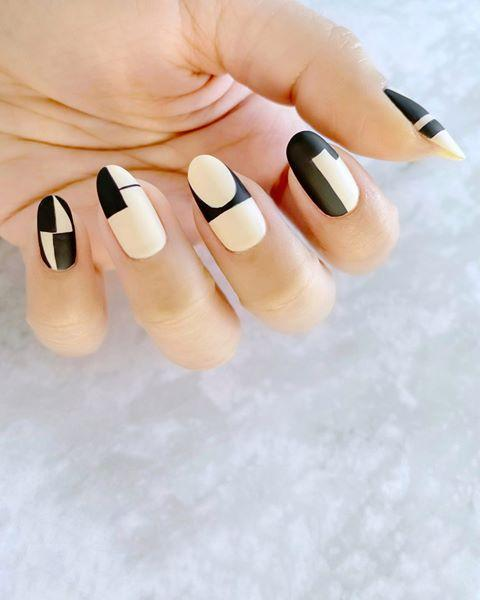 """<p>Don't be afraid to mix and match shapes and play with matte texture on each nail. </p><p><a href=""""https://www.instagram.com/p/CAatCL8jPWt/"""" rel=""""nofollow noopener"""" target=""""_blank"""" data-ylk=""""slk:See the original post on Instagram"""" class=""""link rapid-noclick-resp"""">See the original post on Instagram</a></p>"""