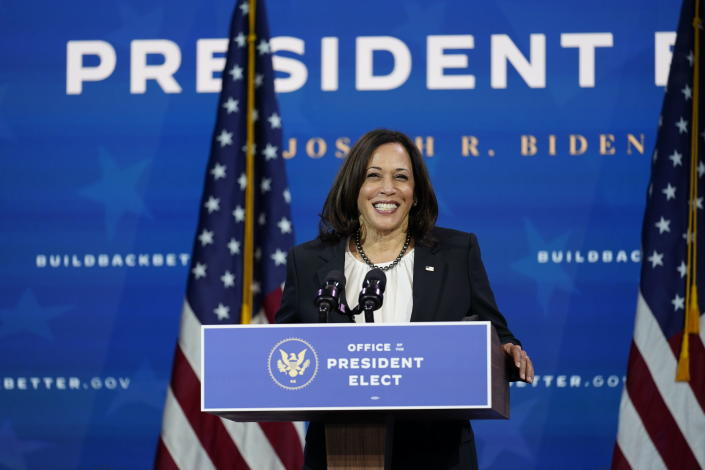 Vice President-elect Kamala Harris speaks as she and President-elect Joe Biden introduce their nominees and appointees to economic policy posts at The Queen theater, Tuesday, Dec. 1, 2020, in Wilmington, Del. (AP Photo/Andrew Harnik)