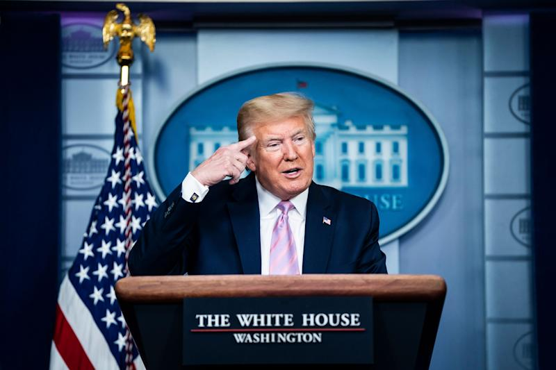 President Donald Trump speaks with members of the coronavirus task force in the James S. Brady Press Briefing Room at the White House on Friday, April 10, 2020. (Photo: Photo by Jabin Botsford/The Washington Post via Getty Images)