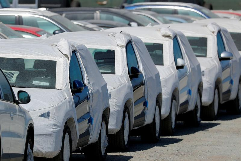 Volkswagen vehicles sit waiting for delivery after their arrival in the United States in Chula Vista, California