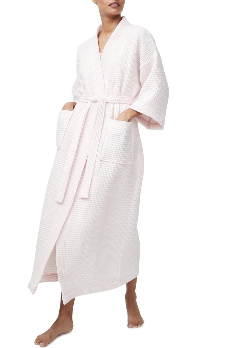 The White Company Long Lightweight Waffle Robe in pale pink