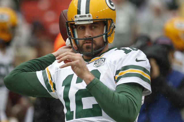 Turn on the red light? Aaron Rodgers isn't a sure start this week against a better-than-advertised Lions secondary. (AP Photo/Alex Brandon)