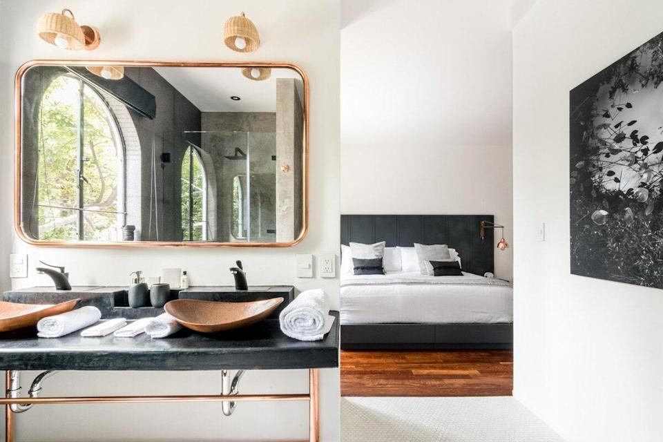 """For the past few years, Airbnb has been bringing more and more boutique hotels onto its platform and this one-bedroom serviced apartment—part of the Casa Dovela aparthotel—is a result. The well-designed space features a spa-like bathroom with both a rain shower and soaker tub, king-sized bed with blackout shades, and modern kitchen with an elegant dining room. Because it's not your average Airbnb, it also comes with a few perks, like access to a concierge who can help you with booking restaurant reservations, massages, manicures, personal training sessions, chefs, room service breakfast, and more at an additional cost. (If this particular Airbnb is booked, Casa Dovela's two other <a href=""""https://airbnb.pvxt.net/EQMnW"""" rel=""""nofollow noopener"""" target=""""_blank"""" data-ylk=""""slk:two-bedrooms"""" class=""""link rapid-noclick-resp"""">two-bedrooms</a> are <a href=""""https://airbnb.pvxt.net/nD5OV"""" rel=""""nofollow noopener"""" target=""""_blank"""" data-ylk=""""slk:available"""" class=""""link rapid-noclick-resp"""">available</a> on the site.) $159, Airbnb (Starting Price). <a href=""""https://www.airbnb.com/rooms/plus/20741640"""" rel=""""nofollow noopener"""" target=""""_blank"""" data-ylk=""""slk:Get it now!"""" class=""""link rapid-noclick-resp"""">Get it now!</a>"""