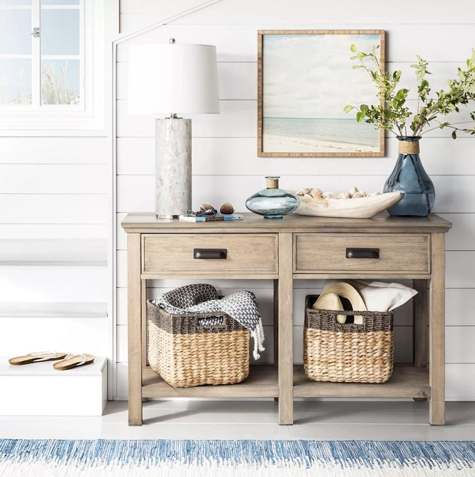 <p>This <span>Threshold Seagrass Rectangular Wicker Storage Basket</span> ($20) would look great in your closet or bathroom.</p>
