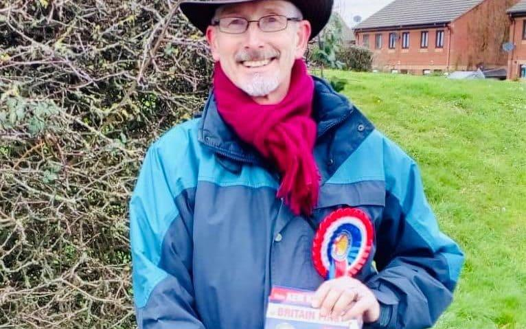 Ken Kearsey campaigning for Britain First as he tries to get elected in Dorset